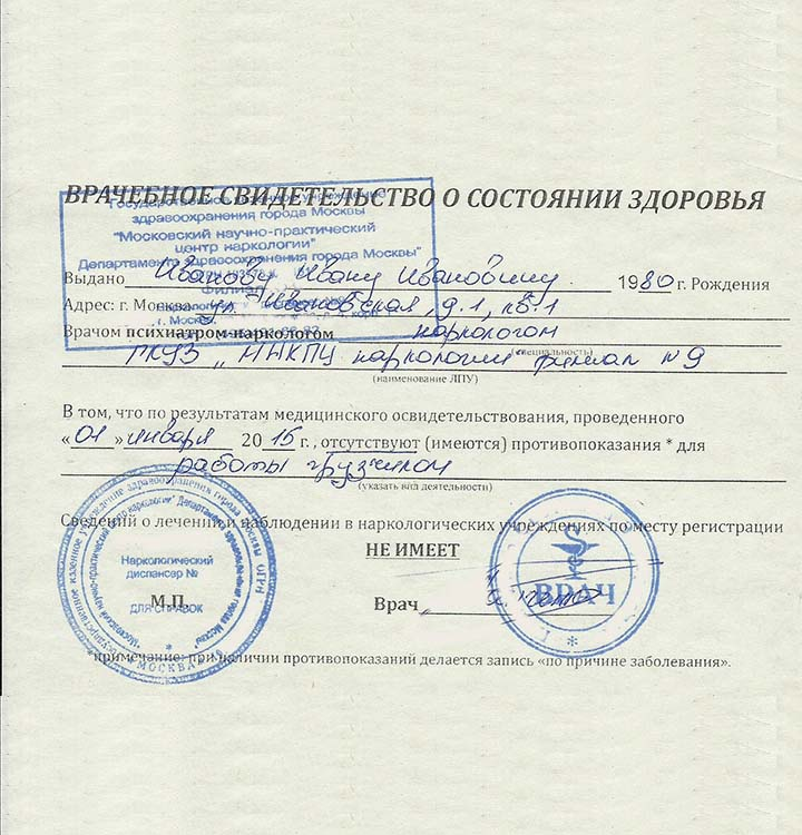 Мед справка водительская в Москве Зябликово быстро без диспансеров