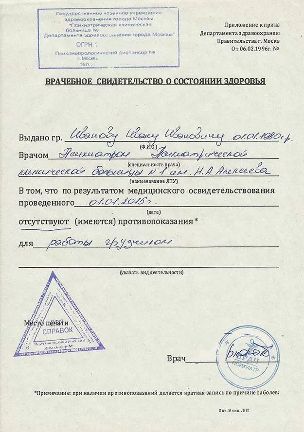 Водительская медкомиссия Москва Крылатское без справок из диспансеров